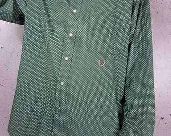 1990s Tommy Hilfiger Polka Dot Shirt Long Sleeve / Vintage Hilfiger Button Up Shirt Retro Throwback 90's Clothing FREE SHIPPING