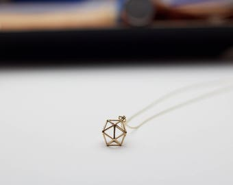 Geometric Necklace, 3-Dimensional Necklace, 3D Necklace, Icosahedron Necklace, Gold Necklace, Modern Circle Necklace, Modern Jewelry