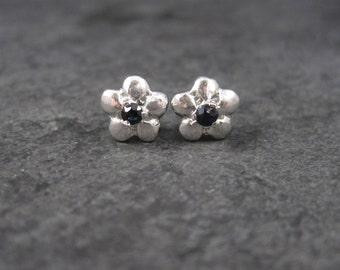 Vintage Sterling Sapphire Flower Stud Earrings
