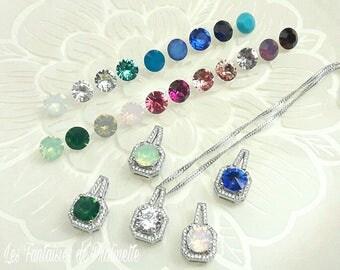 Pendentif mariage en cristal collier mariage strass pendentif cristal collier mariée cristal pendentif carré cristal demoiselles d'honneur