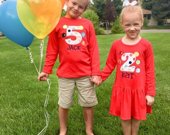 Boy Girl Sibling Twin Bouncing Ball Birthday Shirts with Number and Name