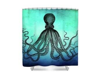 Octopus Shower Curtain, Octopus Bathroom, Sea Theme Bathroom, Ocean Theme Shower, Ocean Theme Bathroom, Vintage Octopus, Sea Theme Decor
