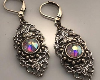 Iridescent Swarovski Crystal Earrings - Crystal Earrings - Dawn Santucci - Metal di Muse - Filigree Earrings - Silver Earrings - Biker