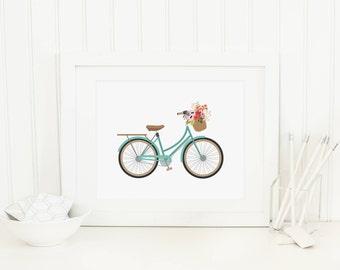 Bicycle Printable Aqua Bicycle Wall Art Bicycle With Flower Basket Vintage  Bicycle Prints Nursery Bike Prints