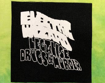 ELECTRIC WIZARD Patch Doom Stoner Metal Sludge Punk Band Patches Sew On Handmade Legalize Drugs And Murder Goth Rock Black White