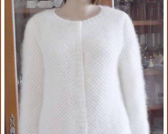 TO order: White Angora Cardigan