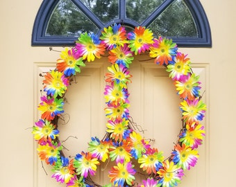 Grapevine Peace Sign Wreath~Flower Peace Sign Wreath~Peace Sign Wreath~Grapevine Wreath~Peace Sign Decor~Tye Dye Flower Wreath~Peace Sign