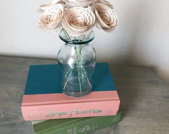 Book Page Flowers - Stemmed Paper Flowers - Book Page Roses - Paper Roses - Wedding - One Year Anniversary - Vintage Themed - Book Themed