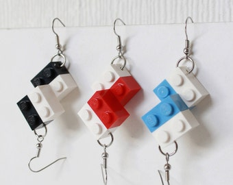 LEGO Earrings DUO tone - Black, White | Red, White | Blue, White