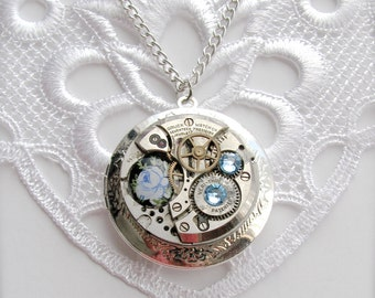 Steampunk Locket Necklace, Gruen 17 Jewels Watch Movement Locket Necklace, Blue Rose Steampunk Locket, Round Statement Locket, Gift for Her
