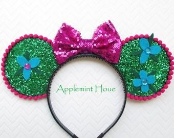 Poppy Princess Ears, Poppy Headband,Troll headband,Poppy Troll, Poppy Minnie Mouse ears, Troll Ears, Poppy Mickey Ears, Poppy Ears