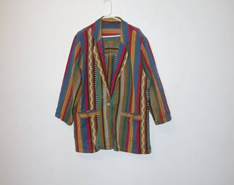 90's STRIPED BLAZER long sleeve jacket size 20w by honors