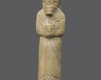 Vintage Stone Sculpture Statue Monolithic Figurine Art Human Figure Religious Biblical Magi