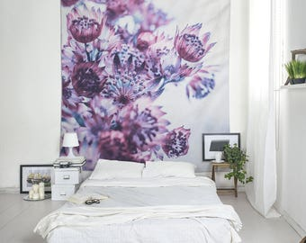 Purple Flowers Wall Hanging, Floral Tapestry, Floral Wall Decor, Tapestry Wall Decor, Dorm Tapestries