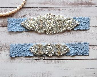 Wedding Garter, NO Slip Lace Wedding Garter Set, bridal garter set, pearl and rhinestone garter set, vintage rhinestones Style A2038