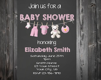 Clothesline Baby Shower Chalk Board Invitation