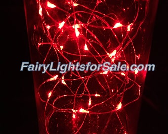 2m/6.6ft 5+ sets Red 20 LED fairy light string strand button battery DIY, centerpiece, wedding, costume, clothing, rave, EDM, outdoor event