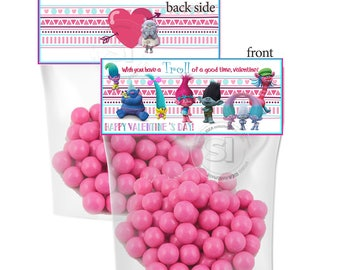INSTANT DOWNLOAD-Valentine's Printable Bag Toppers- D.I.Y Tags- Trolls Valentine-2 printable sizes bag toppers