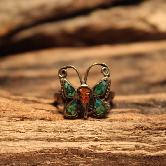 Vintage Sterling Silver Butterfly Ring Navajo Silver Ring Native American Ring 4.6 Grams Size 7.25 Sterling Silver Turquoise Coral  Ring