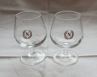 Pair of Small Vintage NAPOLEON Brandy Glasses / Snifters with Gold N Logo, Made in France