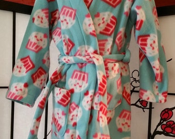 Blue and Pink Cupcake Fleece Child's Bathrobe Size 3/4 with Pockets and Belt