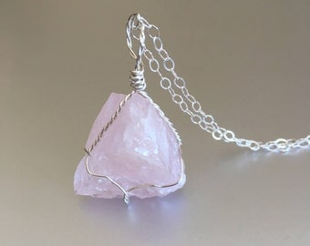 Rose Quartz Necklace, Healing Crystal, Wire Wrapped, Raw Stone, Sterling Silver, Boho Jewelry