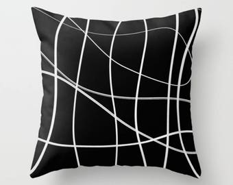 Black White Cushion, Abstract Throw Pillow Case, Modern Cushion Cover, Accent Decorative Pillow, Scribble Pillow, 16x16 18x18 20x20 26x26
