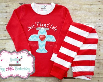 Valentine's Day Pajamas, Valentine Pajamas, Valentine PJ, Boy's Valentine Pajamas, Airplane Embroidery, Just Plane Cute, Applique