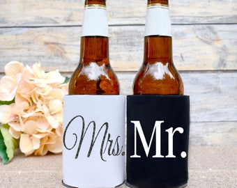 Mr and Mrs Can Cooler Set. Bride and Groom Can Cooler. Beer Hugger. Wedding Can Cooler. Mr and Mrs. Insulated Beverage Holder. Beer Sleeve.