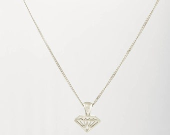 White gold diamond necklace, Diamond shaped necklace ,14K solid gold diamond shaped pendant with 14K solid gold Necklace