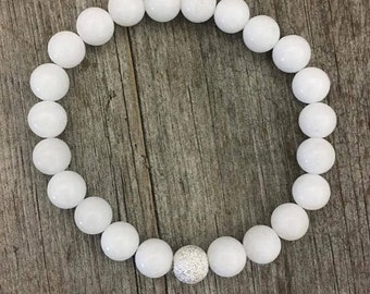 White Jade bead bracelet with sterling stardust centre bead