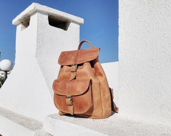 Full Grain Leather Backpack, Leather Rucksack, College Backpack, Leather Daypack. Handmade Satchel.