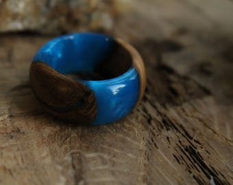 birthday gift|for|friend personalized ring|for|woman gift|for|bride wooden jewelry custom ring nature resin ring blue jewelry promise ring
