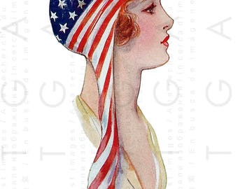 Hail COLUMBIA ! PATRIOTIC Flapper Lady 4th of July Vintage Postcard. Four Of July  Digital Patriotic Download. Patriotic Clip Art.