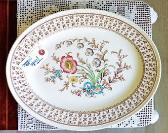 """1940's Hand Coloured 12.5"""" Knutsford Ducal Ware Floral Platter, Oval Platter, Meat Platter, Stoneware Floral Platter, Large Serving Platter"""