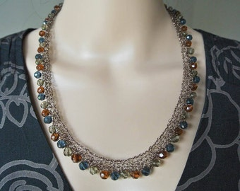 Long Statement Necklace of Knitted Wire and Fire Polished Crystals of Topaz, Petrol Blue and Black Shadow