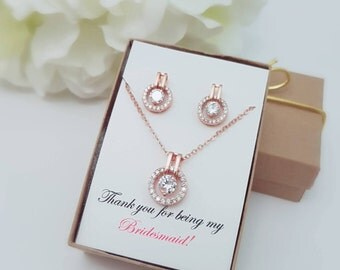 Bridesmaid Gift Rose Gold Jewelry Set of 4, 5, 6, 7, 8, 9, 10, 11, 12 - Bridesmaid Gift Ideas - Earrings Necklace Wedding Maid of Honor gift