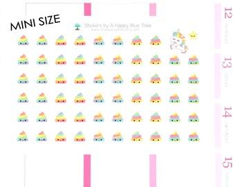 MINI Happy Unicorn Poo Reminder Tracker Cute Kawaii Personal Planner Stickers Erin Condren Midori A6 A5 Mambi Kikkik Kate Spade Rainbow Poop