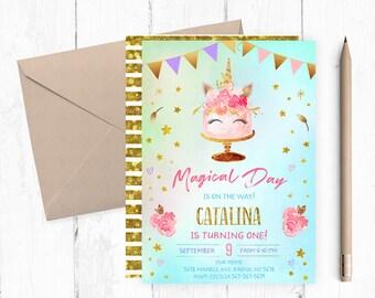 Unicorn Cake Invitation, Unicorn Birthday Invitation, Unicorn Birthday Invites, Unicorn Birthday Invite, Unicorn Party Invites, themed,