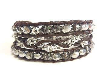 silver chain and crystals wrap bracelet
