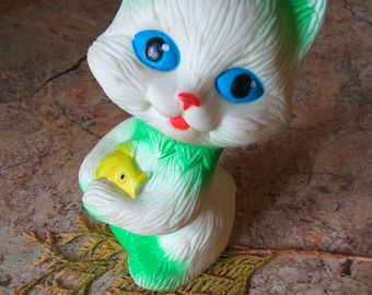 "Vintage Soviet Toy Rubber toy ""Cat with fish""  Collectible Toy Pretty Kitten Cute Animal Toy Collectible gift Gift for kids"