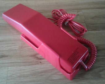 Bright Red Retro Phone, Vintage Electronic Telephone with Wall Mount Bracket in its Original Box made in the 1980's