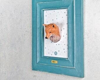 REINEKE FOX sculpture - wall-sculpture - clay Artist - childrens clay art - handmade interior - Wall art - artist - art of clay - Children