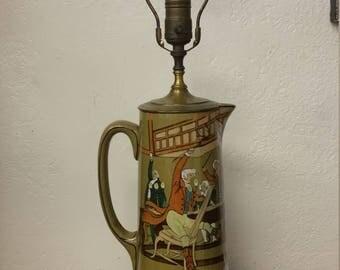 Antique Deldare Buffalo Pottery Lamp
