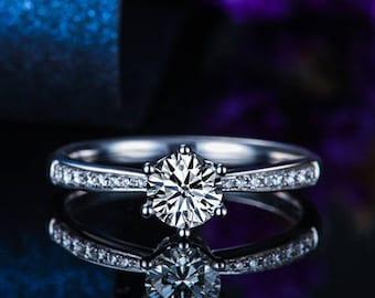 Round Moissanite Engagement Ring 14k White Gold Art Deco Forever One Moissanite Ring Diamond Engagement Ring Anniversary Ring