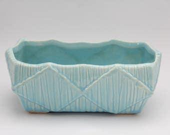 "1950's Vintage McCoy Planter, 8"" Aqua Rectangle Ceramic Planter"