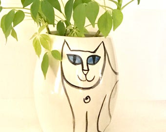 Cat Cookie Jar White Black treat jar kitty lover theme hand painted pet  decor gift earthenware lidded vessel
