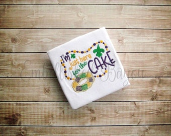 I'm Just Here for the Cake Appliqued Mardi Gras Ruffle T-shirt for Girls