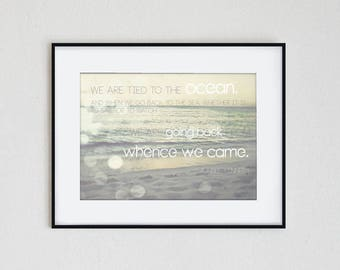 TIED to the SEA | instant download, inspiration print, quote, John F. Kennedy, ocean, seascape, sunset, printable wall art, modern, summer