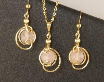 Pink Rose Quartz Gemstone Gold Jewelry Gift Set, Rose Quartz Drop Pendant Gold Chain Necklace and Earrings Set, Pink Rose Quartz Jewelry